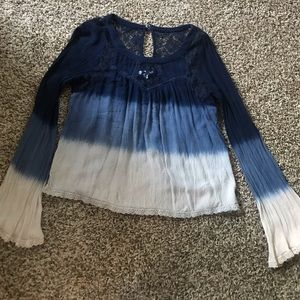 Blue Tie Dye Blouse from the Buckle